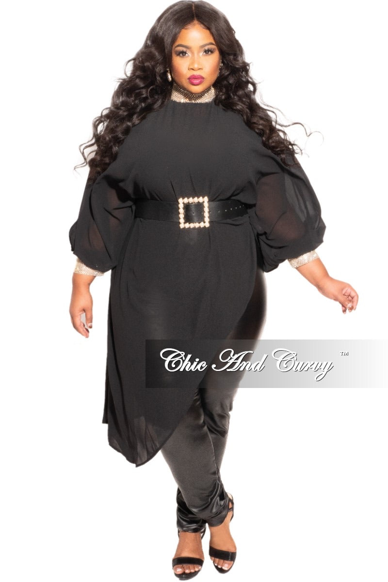 Final Sale Plus Size Chiffon Bling Collar & Cuff Asymmetrical Blouse in Black