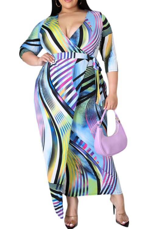 Final Sale Plus Size Faux Wrap Dress In Lavendar Print