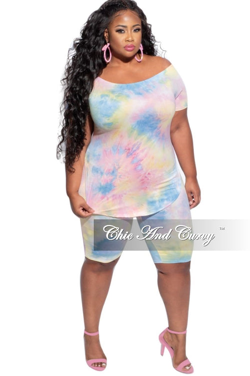 New Final Sale Plus Size 2-Piece (Off the Shoulder T-Shirt & Bermuda Short) Set in Pink, Blue, & YellowTie Dye