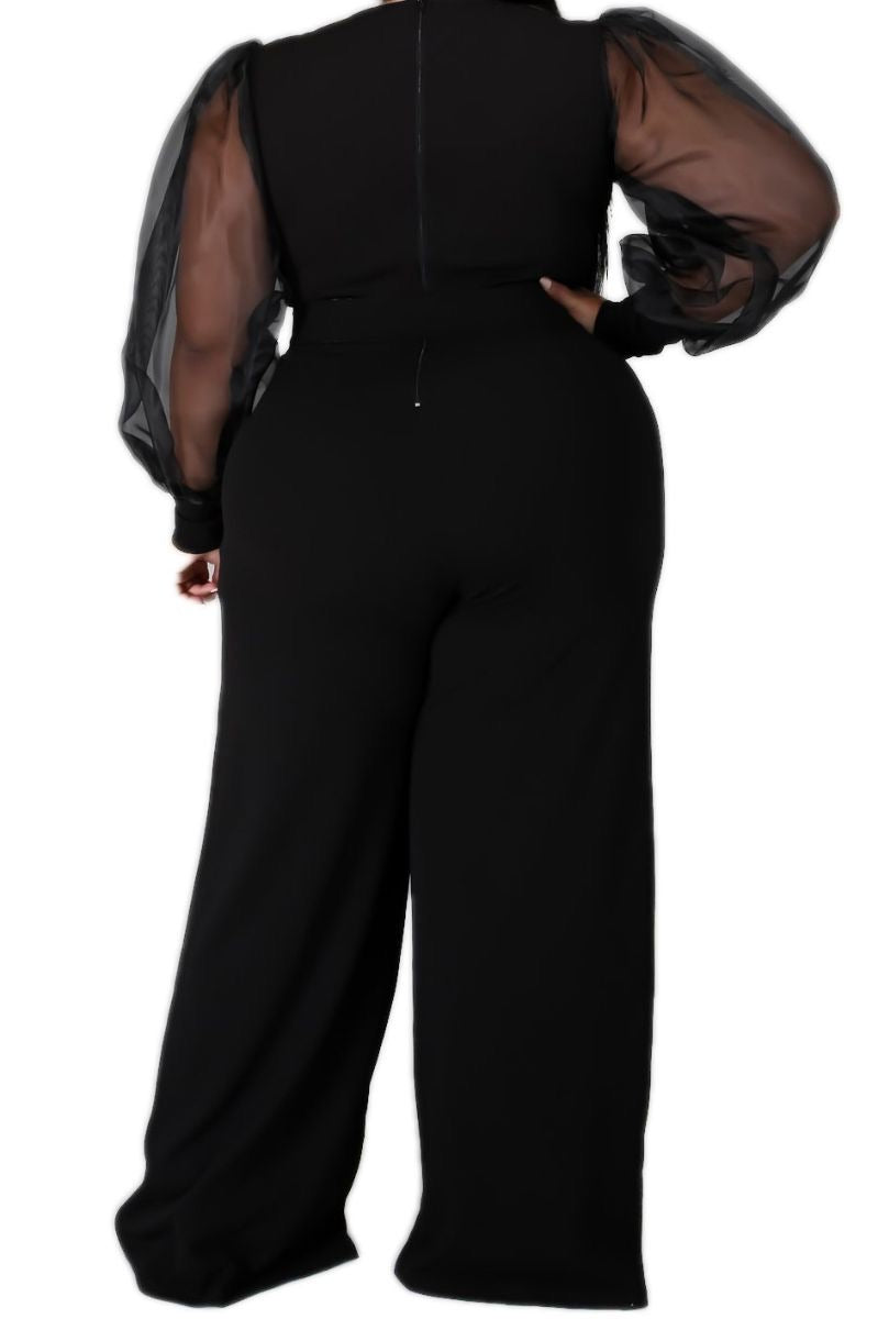 Final Sale Plus Size Sheer Organza Sleeve Faux Wrap Belted Jumpsuit in Black