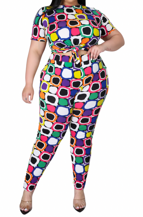 Final Sale Plus Size 2-pc Pants Set in Square Print