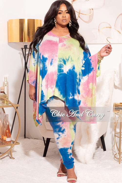 Final Sale Plus Size 2pc Set in Pastel Rainbow Tie Dye