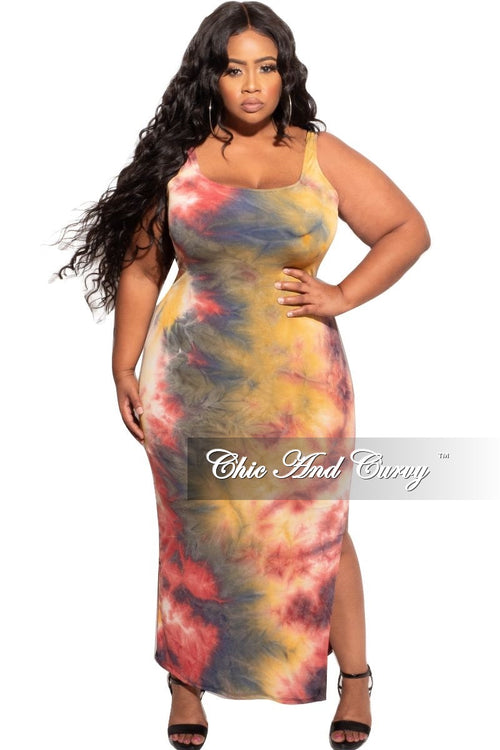 *Deal of the Day Final Sale Plus Size Tank Maxi in Mustard, Wine, and Navy Tie Dye