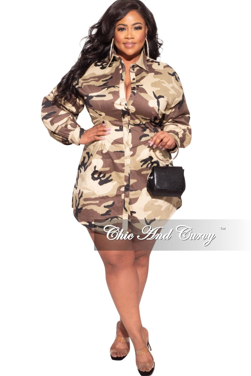 Final Sale Plus Size Skirt Dress/Tunic in Camouflage