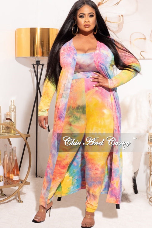 Final Sale Plus Size 3-pc (Duster, Crop Tank Top & Pants) Set in Rainbow Sherbet Tie Dye