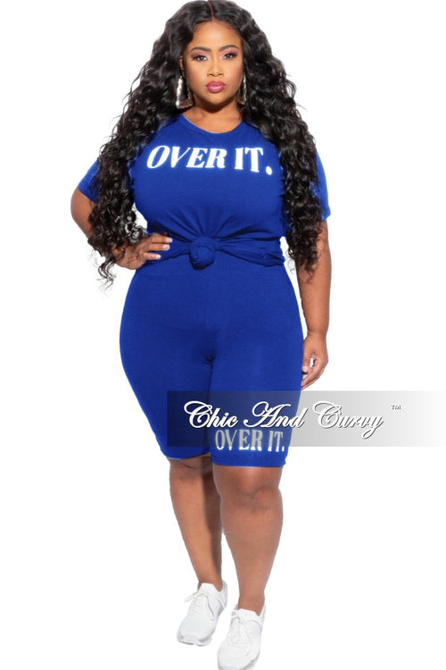 New Plus Size 2-Piece Over It (Top & Shorts) Set in Royal Blue & White