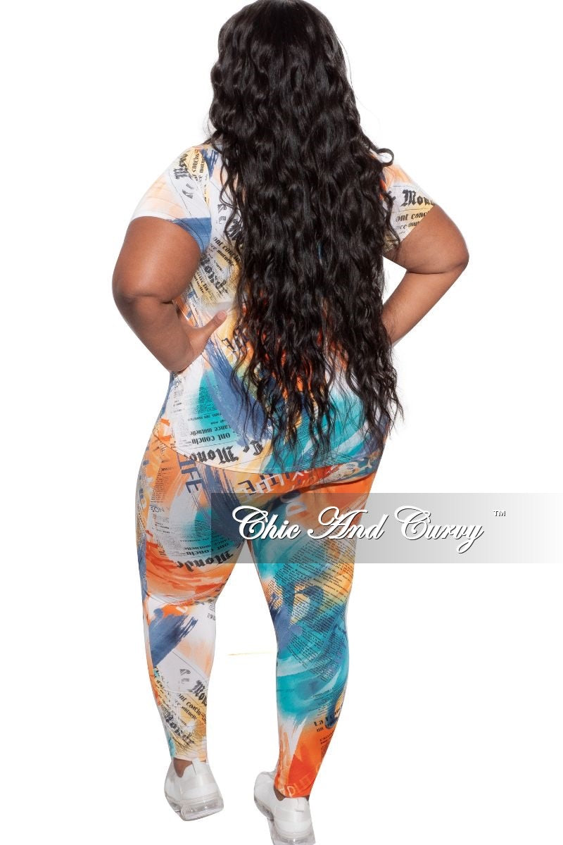 New Plus Size 2-Piece (Top & Pants) Set in Orange/Turquoise News Print