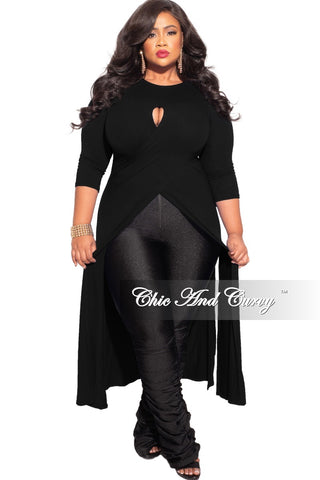 Final Sale Plus Size Sequin Coat Dress / Blazer with Rhinestone Buttons &  Fringe Bottom in Black