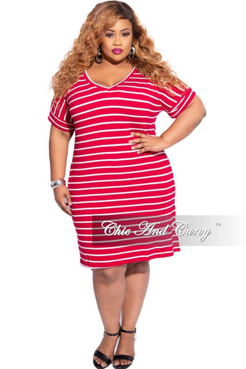 New Plus Size Rolled Sleeve V-Neck Dress in Burgundy with Ivory Stripes