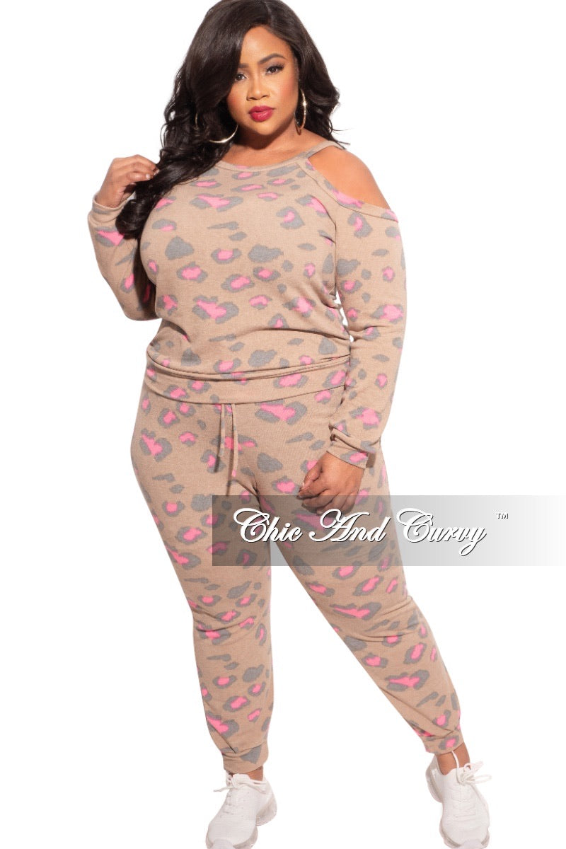 New Plus Size 2pc (Top & Jogger) Set In Tan with Pink Animal Print