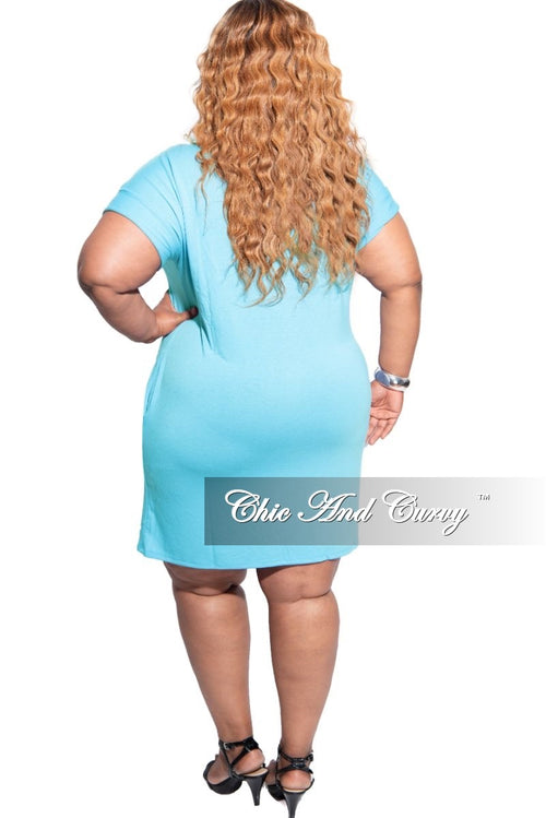 New Plus Size Rolled Sleeve Dress in Ash Mint
