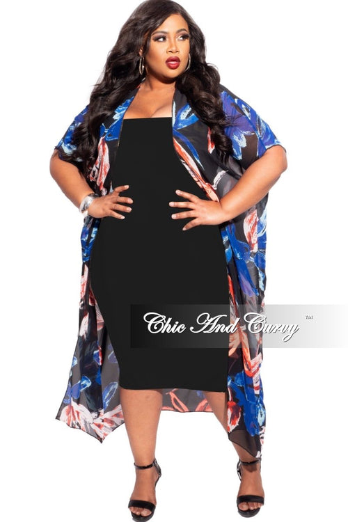Final Sale Plus Size Chiffon 3/4 Sleeve Duster in Black, Red, & Royal Blue