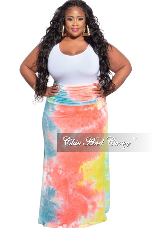 New Plus Size Maxi Skirt in Turquoise Orange & Yellow Tie Dye