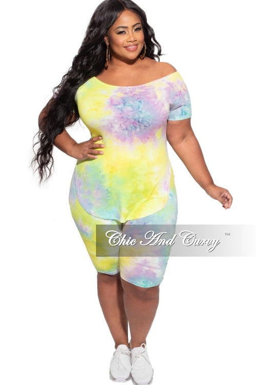 New Plus Size 2pc (Off the Shoulder Top & Bermuda Short) Set in Purple & Mint Tie Dye
