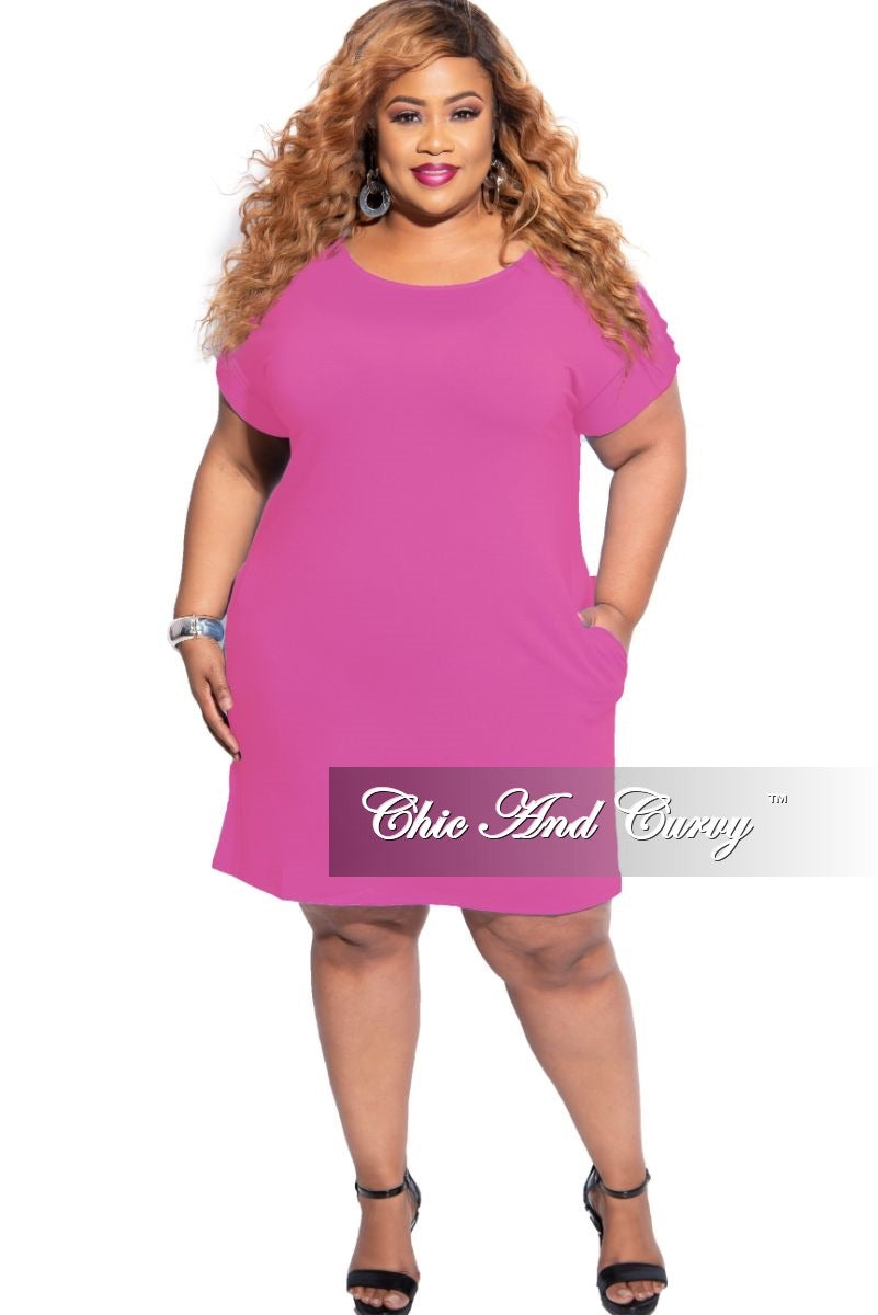 New Plus Size Rolled Sleeve Dress in Hot Pink