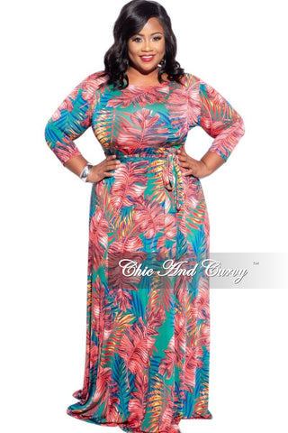 New Plus Size Faux Wrap Tie Wide Leg Jumpsuit in Yellow & Red Floral Print