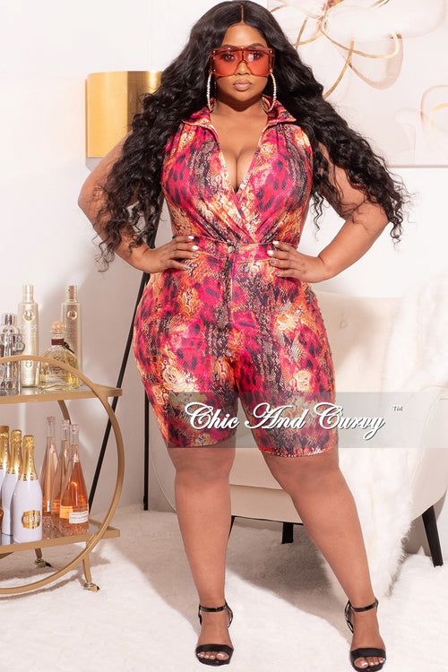 Final Sale Plus Size 2pc Faux Wrap Bodysuit & Bermuda Short Set in Fuchsia Snake Print Love