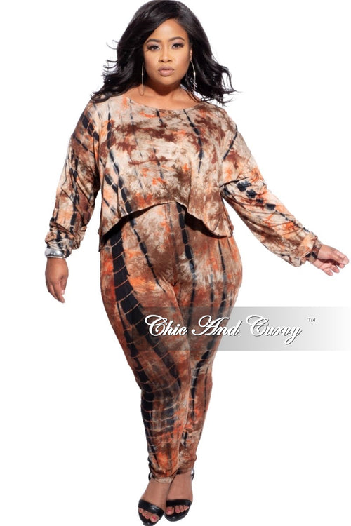 New Plus Size 2pc (Top and Pants) Set in Brown Tie Dye Print
