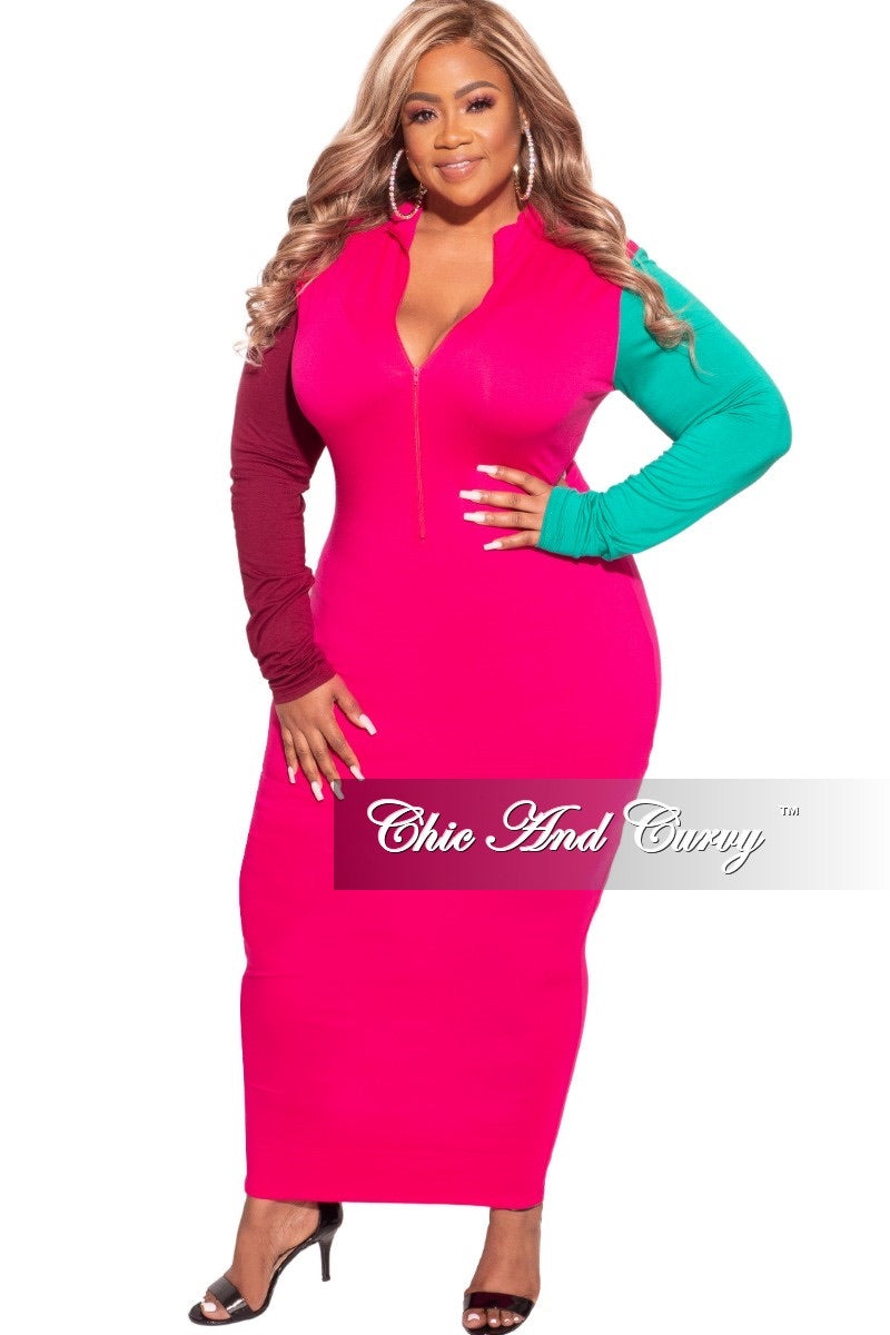 Final Sale Plus Size BodyCon Colorblock Midi Dress