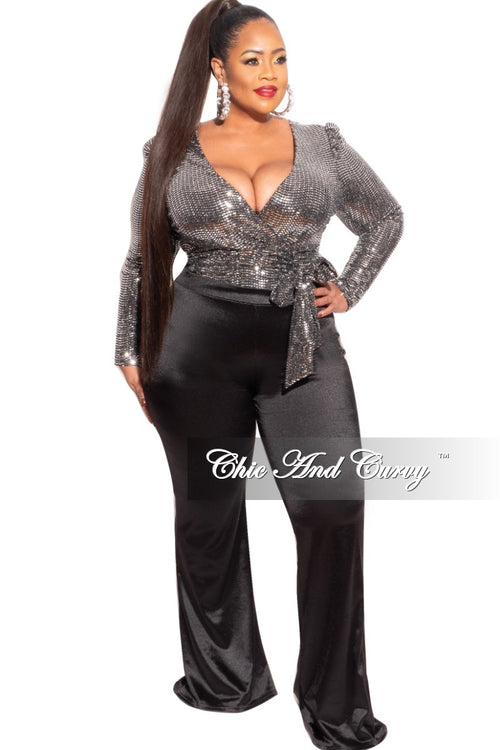 Final Sale Plus Size Bodysuit in Silver Faux Sequin