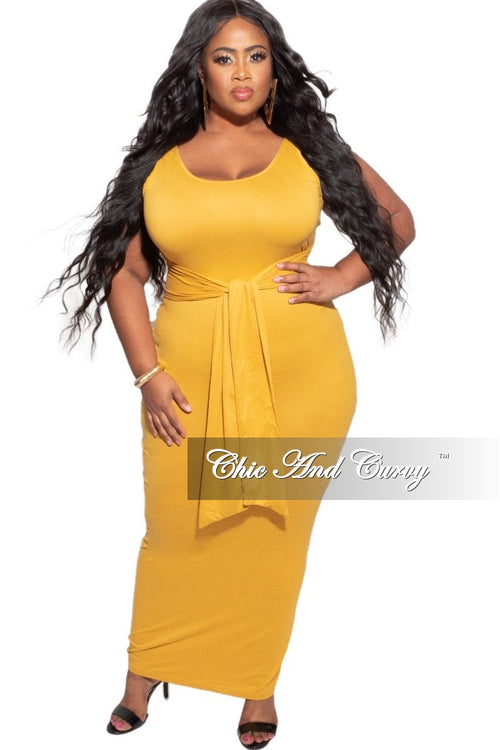 New Plus Size Midi Dress with Attached Belt in Mustard