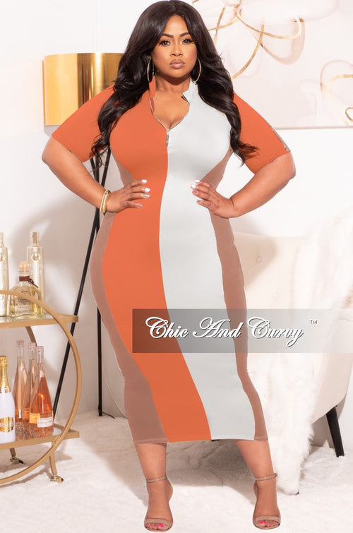 Final Sale Plus Size Colorblock Bodycon Dress in Coral Brown & White