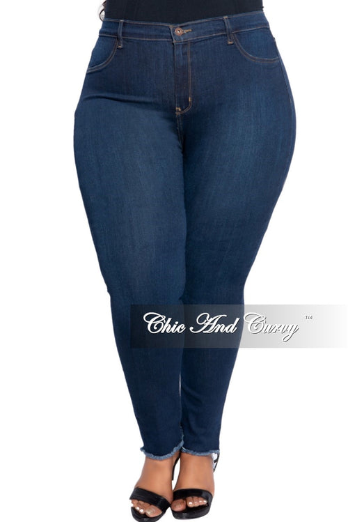 New Plus Size Jeans with Bottom Fringe Trim in Dark Denim