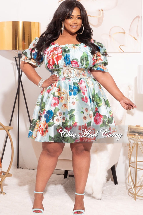 Final Sale Plus Size Satin Babydoll Dress with Elastic Waist in Mint Floral Print