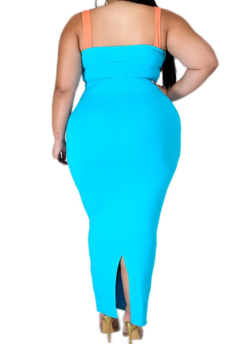 Final Sale Plus Size Bodycon Dress in Orange and Turquoise