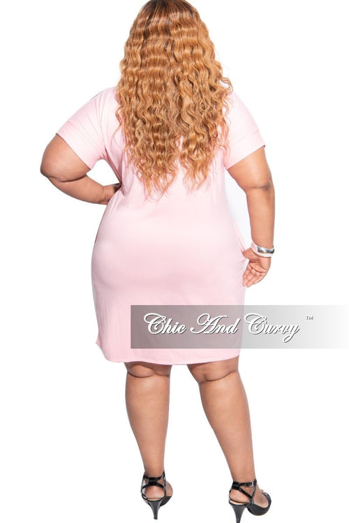 New Plus Size Rolled Sleeve V-Neck Dress in Dusty Pink