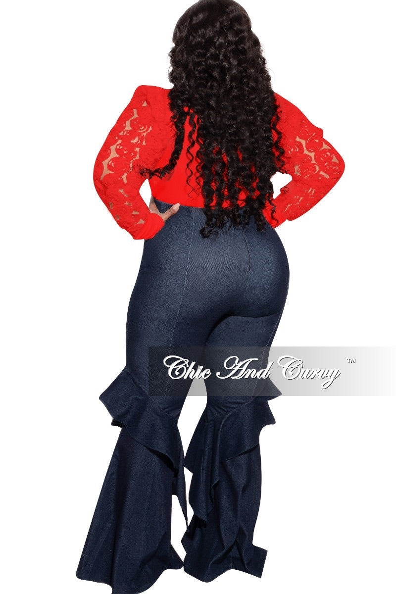 Final Sale Plus Size Floret Sleeves Bodysuit in Red
