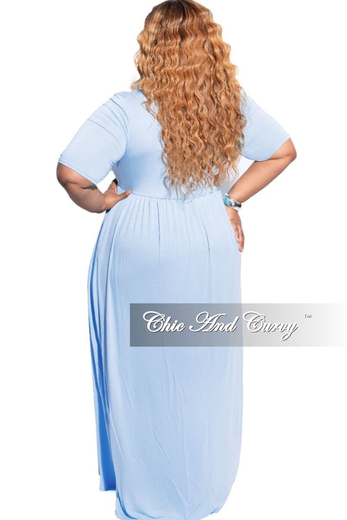 New Plus Size Pocket Maxi Dress in Spring Blue