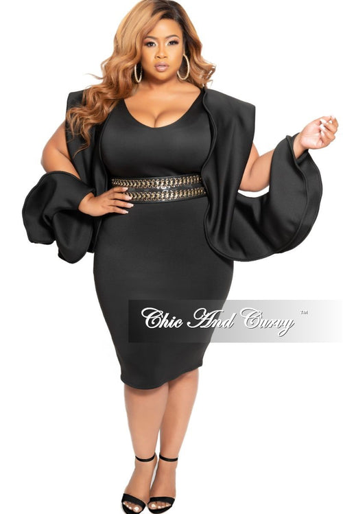 New Plus Size BodyCon Dress with Slit Puff Sleeves in Black