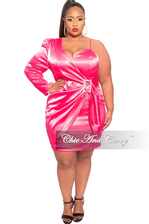 Final Sale  Plus Size One Sleeve Dress in Pink
