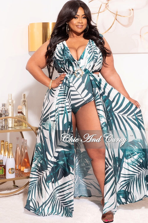 Final Sale Plus Size Playsuit with Open Back & Train in Green/White Palm Print