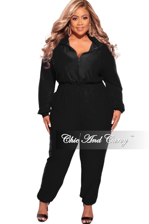Final Sale Plus Size Parachute Jumpsuit in Black