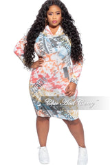 New Plus Size Pull Over Hooded Dress with Long Sleeves in Multi-Color Tie Dye Print