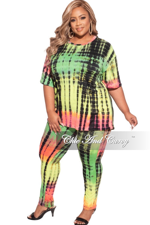*Final Sale Plus Size 2-piece Set in Neon Pink Orange Green and Black