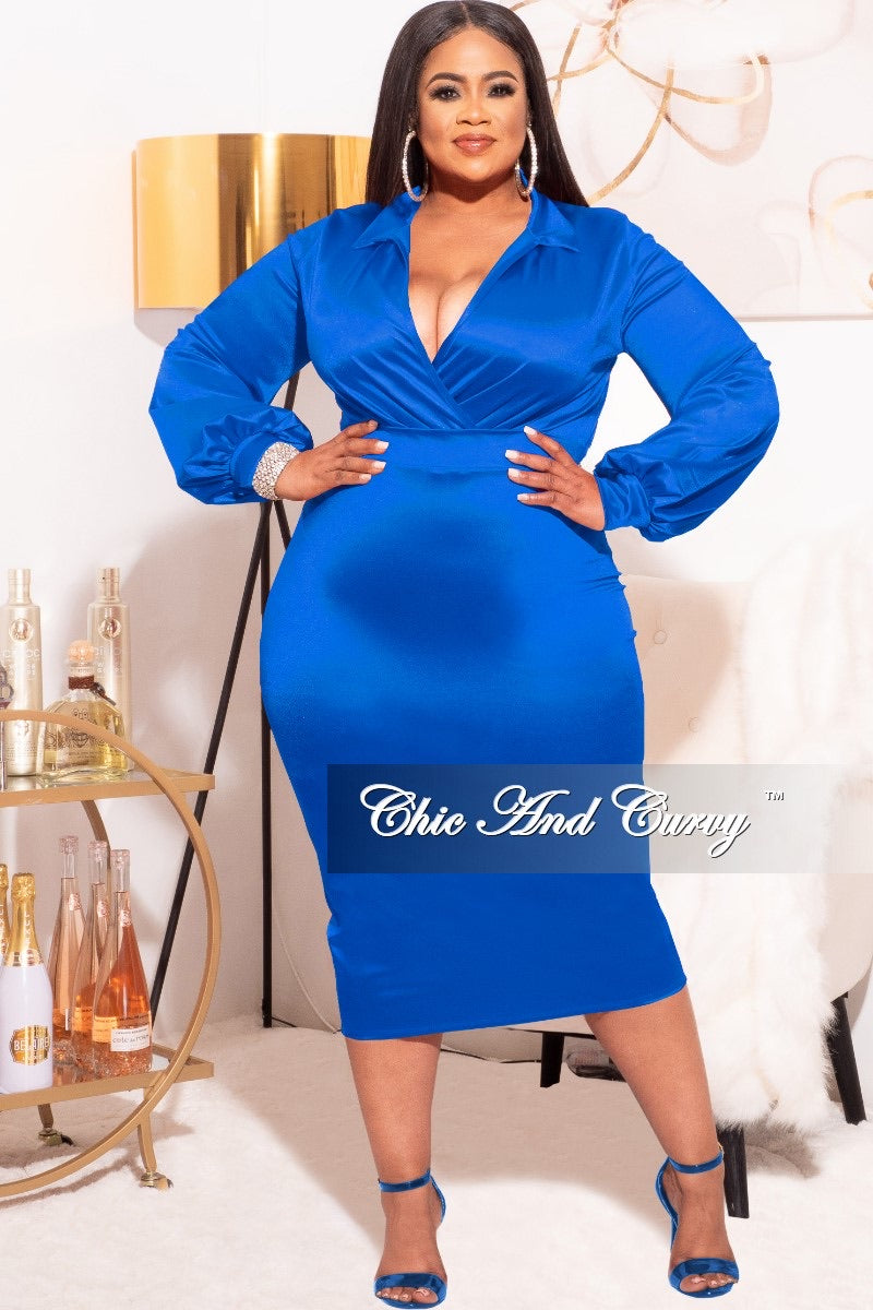 *Final Sale Plus Size 2-piece Set (Bodysuit & Skirt) in Shiny Royal Blue