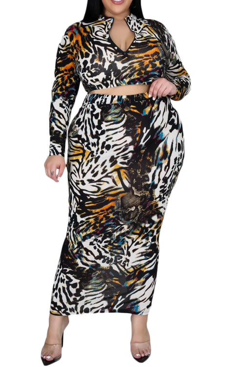 Final Sale Plus Size Skirt Set in Multi-Color Tiger Print