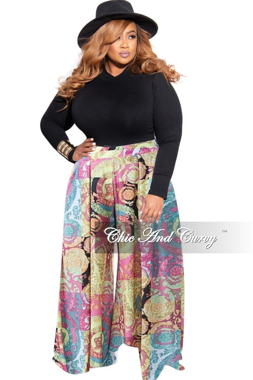 New Plus Size Palazzo Pants in Paisley Print