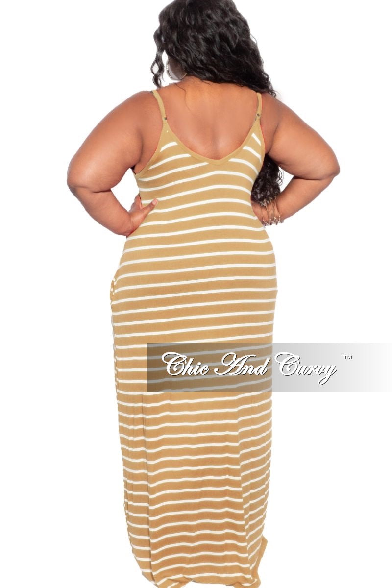 Final Sale Plus Size Spaghetti Strap Maxi Dress in Mustard & Ivory