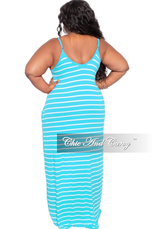 Final Sale Plus Size Spaghetti Strap Maxi Dress in Ice Blue & Ivory