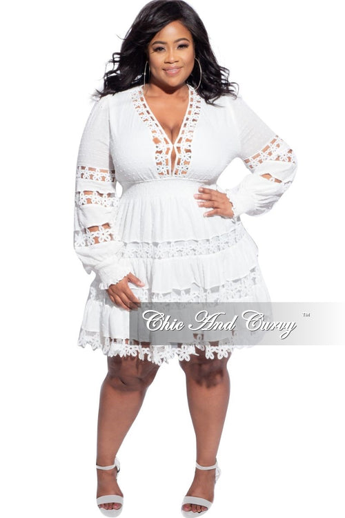 Final Sale Plus Size Crocheted Lace BabyDoll Dress in Ivory