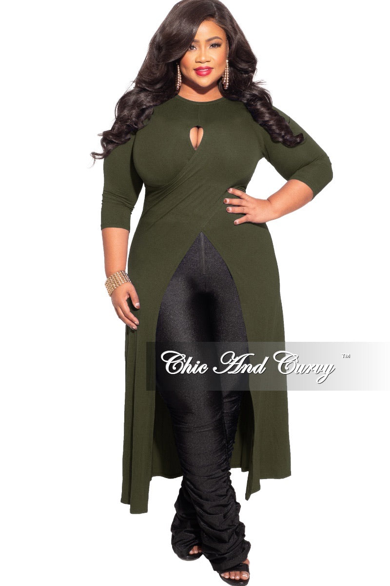 *Final Sale Plus Size Long Tunic Top with Keyhole in Olive