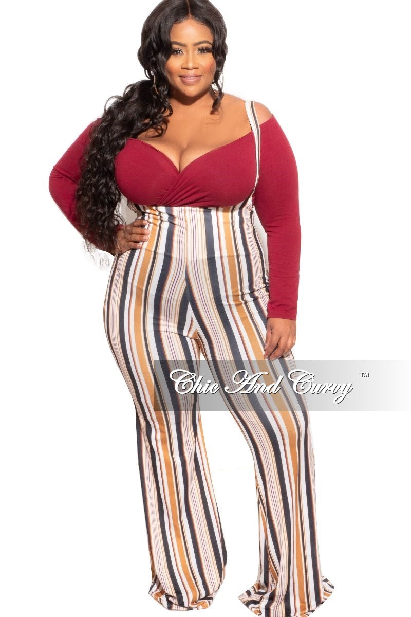New Plus Size 2pc Tie Top & Overall Jumpsuit Set with Burgundy Top & Ivory Multicolor Stripes