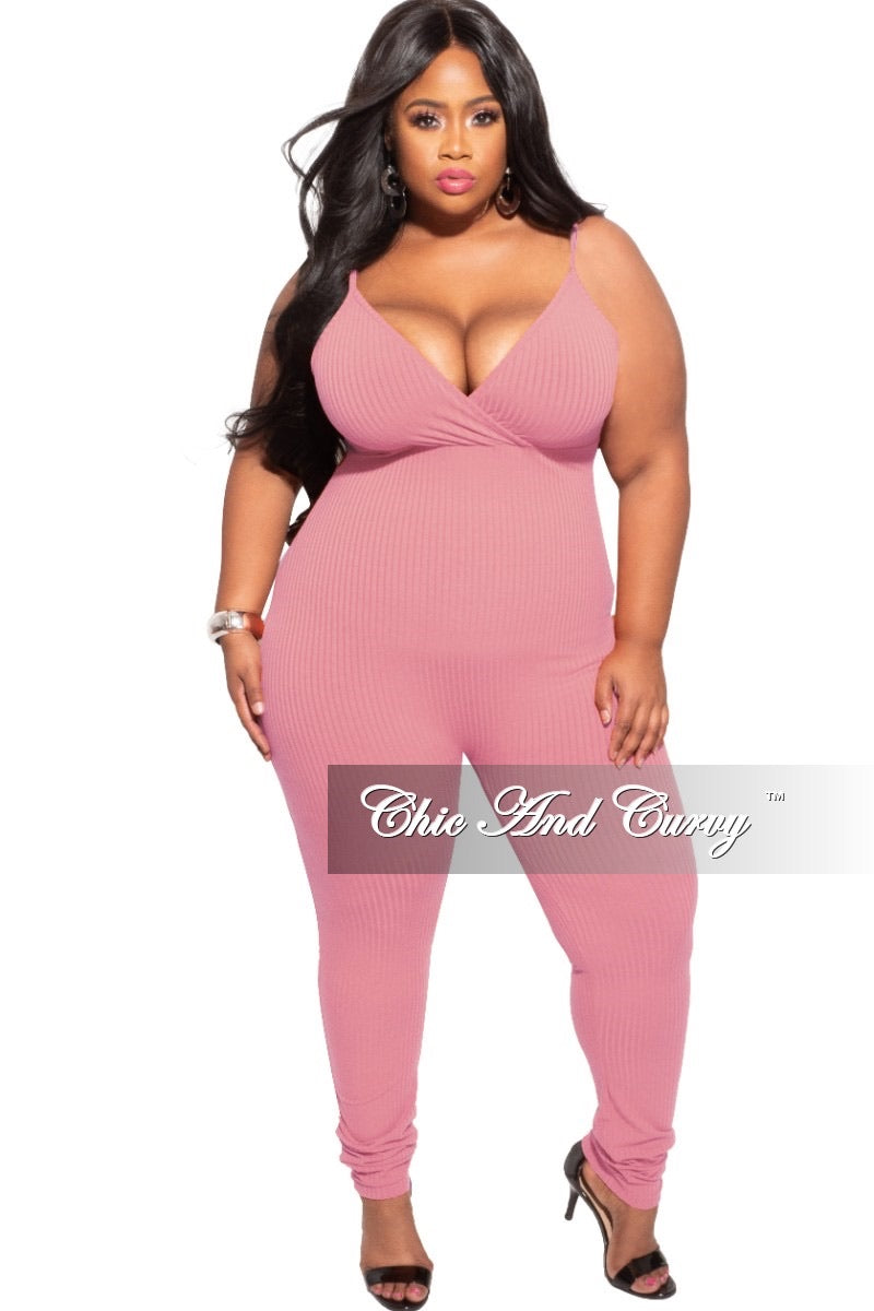 Final Sale Plus Size 2-Piece Duster and Jumpsuit Set in Pink