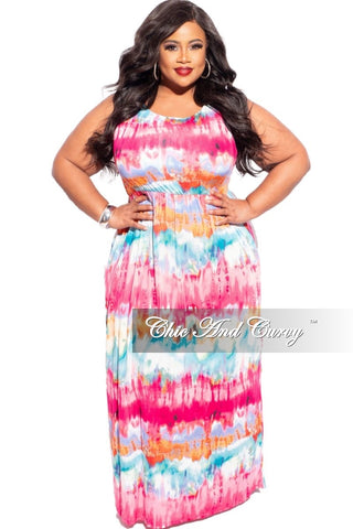 New Plus Size Tank Maxi in Blue, Orange & Pink Tie Dye