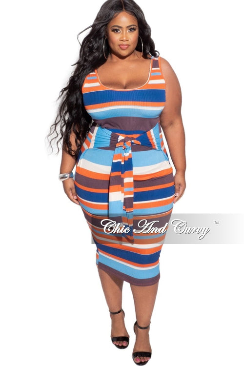 *Deal of the Day Final Sale Plus Size Ribbed Dress with Attached Belt in Multicolor Stripes