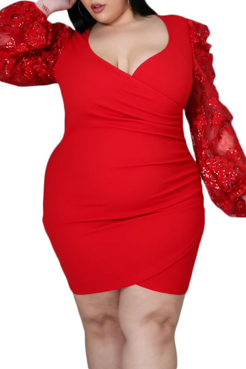 *Final Sale Plus Size Mini Bodycon Dress with Organza & Sequin Sleeves in Red